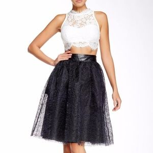 TOV Holy Skirts - NWT Tov Holy Black Mesh Layered Full Skirt S